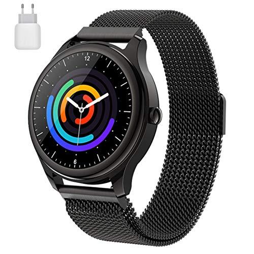 LVF S23 Smart Smart Watch 2021 Monitor De Ritmo Cardíaco Pulsera Control De Música Deportes Negros A Prueba De Agua Smartwatch Android iOS Hombre Mujer,A