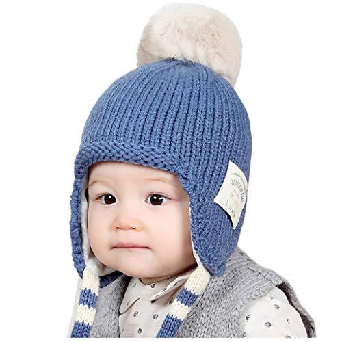 LianMengMVP Wintermütze Baby Jungen Mädchen Hut Kleinkind Earflap Beanie warme Häkel Strickmütze (Blau)