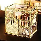 Juego de cajones apilables Organizador de maquillaje de vidrio Caja de almacenamiento cosmética de vanidad de cosmética Vidrio de cristal Visualización de belleza, soporte para pinceles Lápices labial
