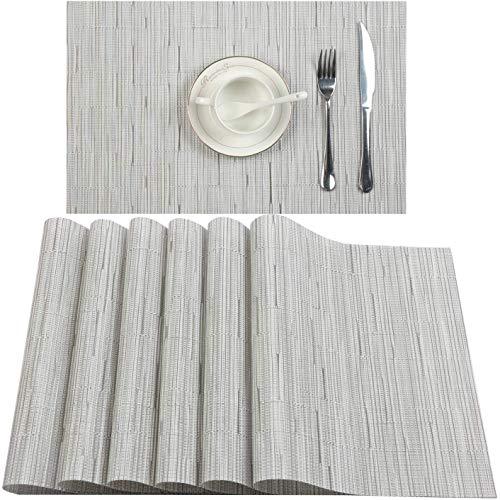 QINUKER Tovagliette per tavolo da pranzo, set di 6 tovagliette in vinile PVC Pauwer, resistenti al calore, antiscivolo, antiscivolo, in tessuto moderno, per cucina,Grigio chiaro, 6pcs Placemats