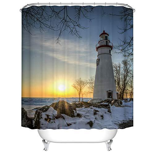 Fangkun Badezimmer Duschvorhang Leuchtturm Design – Schnee & Eis auf dem Boden – Badvorhänge Ozean Sonnenuntergang am Meer Docks Dekor-Set – 12 Haken – 183 x 183 cm