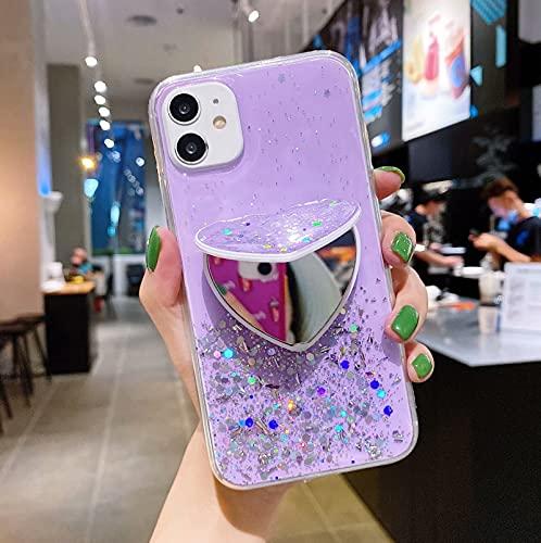 Miagon Glitter Paillette Brillant Coque pour iPhone 12 Pro,Fille Femme Transparent Cover Scintillait Étoile Silicone Flexible Étui Housse,Miroir Support de Stand Violet