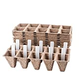 Seed Starter Tray Kit | Pack of 10 X 10 Cell Peat Pots | Bonus 30...