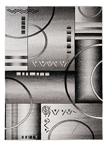 Carpeto Rugs Tapis Salon Gris 140 x 190 cm Moderne Geometrique/Nantes Collection