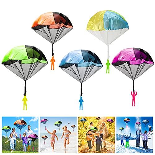Wokkol Kinder Fallschirm, Kinder Hand werfen Fallschirm, 12 Stück Fallschirmspringer Hand Werfen Fallschirm Outdoor Flugspiele Geschenk für Kinder, Weihnachten Geschenk für Kinder