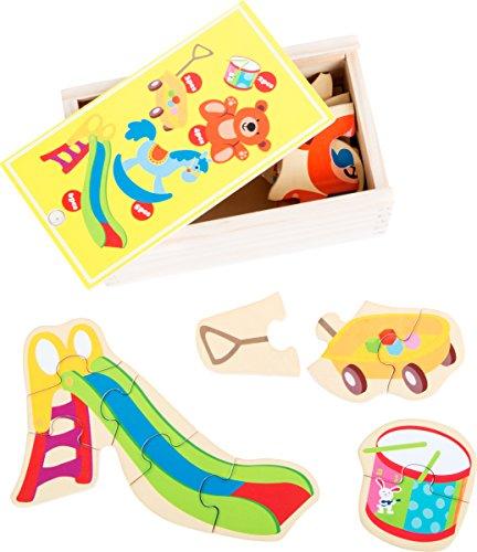 small foot 10550 puzzelbox voor het puzzelen van vijf verschillende speelgoed van hout, met verschillende moeilijkheidsniveaus, praktische houten kist die ook geschikt is voor transport