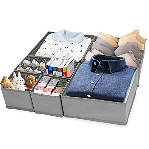 MMTX 7 Pack Dividers Organisers Set, Fabric Wardrobe Organiser, Foldable Storage Box for Clothes Socks Toys Underwear Bra,Storage Bins Box fits Home, Bedroom, Living Room, Office,Dresser