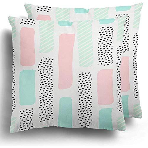 GodYo Kussenslopen 1-pack penseelstreken in pastelroze mintgroen en stippen op wit creatief
