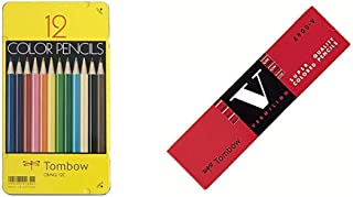 トンボ鉛筆 色鉛筆 NQ 12色 CB-NQ12C &  赤鉛筆 8900V 丸軸 朱色 1ダース 8900-V