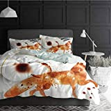 Duvet Cover Set Quilt cover Coffee Art Soft Bedding Set Comforter Cover Cunning Animal and Human Nature Character Theme Coffee Espresso Decorative 3 Piece Bedding Set with 2 Pillow Shams, King Size