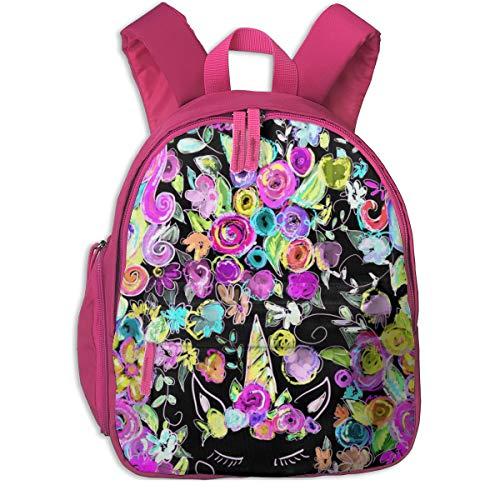 Kinderrucksack mädchen,Regenbogen Einhörner + Blumen Schwarz_2754 - theartwerks, Für Kinderschulen Oxfordstoff (pink)