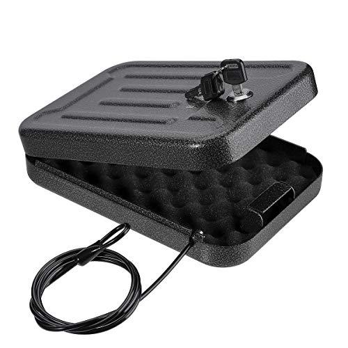 BAGKOOL Pistol Safe,Portable Metal Travel Gun Safe Handgun Lock Security Box Case with Key Lock