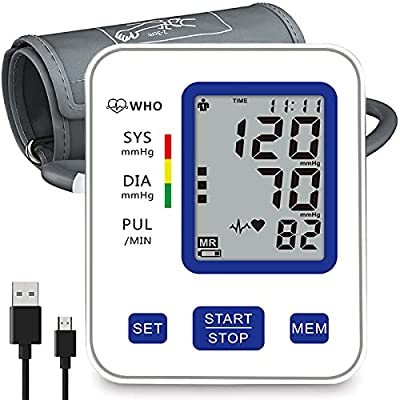 Upper Arm Digital Blood Pressure Monitor BP Monitor with 2 Users 198 Memory,Adjustable Cuff,Automatic Heart Rate Pulse Monitor with Large Screen Display Home Use Care Device