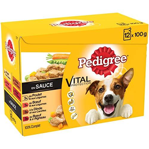 Pedigree Vital Protection - Sachets fraîcheur pour chien adulte aux 4 saveurs en sauce, 48 sachets repas de 100g