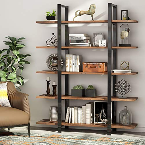 Tribesigns 5-Tier Bookshelf, Vintage Industrial Style Bookcase 72 H x 12 W x 47L Inches, Retro Brown