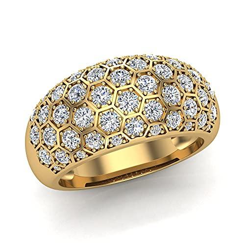 Anillos de cóctel para mujer con forma de cúpula de oro de 14 quilates de 1,00 quilates (G,SI1), Piedra, Diamond,
