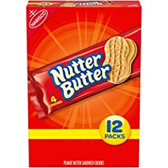 One box with 12 snack packs (4 cookies per pack) of Nutter Butter Peanut Butter Sandwich Cookies Peanut butter cookies made with real peanut butter for a salty and sweet treat Peanut-shaped sandwich cookies are fun to eat Crunchy cookies with smooth,...