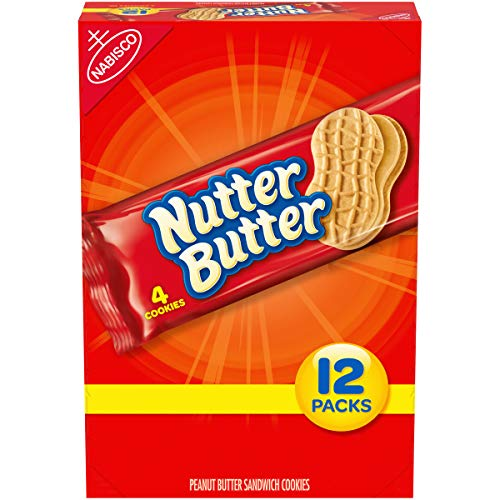 Nutter Butter Peanut Butter Sandwich Cookies, 12 Packs (4 Cookies Per Pack)