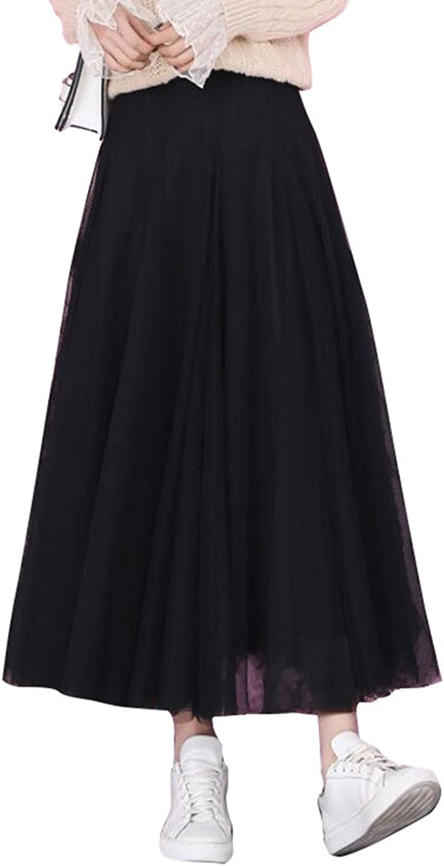 Adonis Pigou Women's Elastic Waist Net Mesh Tulle Overlay Midi Skirt Maxi Tutu Dress