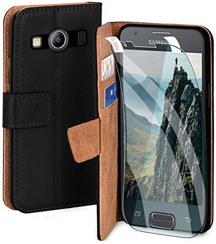 moex Handyhülle für Samsung Galaxy Ace Style - Hülle mit Kartenfach, Geldfach & Ständer, Klapphülle, PU Leder Book Hülle & Schutzfolie - Schwarz