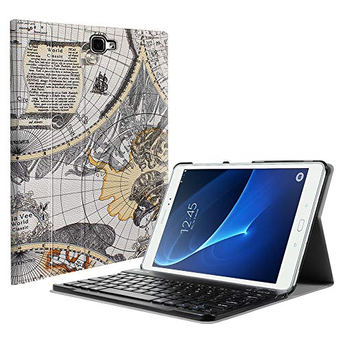 Fintie Keyboard Case for Samsung Galaxy Tab A 10.1(2016 NO S Pen Version),Slim Lightweight Stand Cover w/Magnetically Detachable Wireless Bluetooth Keyboard Compatible with Tab A 10.1 Inch, Map White