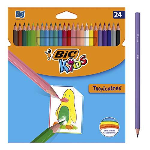 BIC Kids Tropicolors Lápices de Colores (2,9mm) - Colores Surtidos, Blíster de 24 Unidades, para actividades creativas en casa y colegio