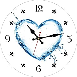 MEISTAR Modern Romantic 12 Inch Creative Heart Shape Design Wooden Wall Clock,Home Decoration Round Quartz Movement Wall Clocks for Bedroom,Kitchen