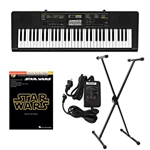 Casio CTK2400 61-Key Keyboard Deluxe Package with Casio Keyboard Adapter  Keyboard Stand & Star Wars Easy Piano Play Along Book