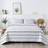 Andency White Quilt Set Queen (90x90 Inch), 3 Pieces(1 Striped Boho Quilt and 2 Pillowcases), Bohemian Reversible Bedspread Microfiber Coverlet Sets All-Season