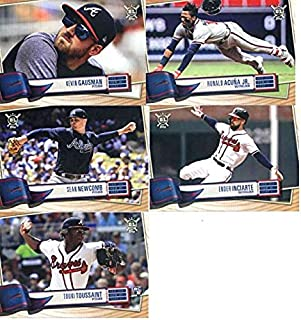 2019 BIG LEAGUE Baseball (Topps product) Atlanta Braves Team Set (Stock Photo Used, all cards will be base version) of 13 Cards: Kevin Gausman(#6), Ronald Acuna Jr.(#50), Touki Toussaint(#67), Ender Inciarte(#107), Adam Duvall(#167), Freddie Freeman(#195), Mike Foltynewicz(#197), Ozzie Albies(#208), Dansby Swanson(#252), Josh Donaldson(#253), Johan Camargo(#258), Sean Newcomb(#259), Ronald Acuna Jr.(#381)