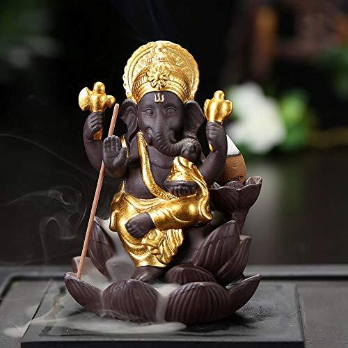 Elephant - Quemador de incienso de cerámica hecho a mano con 10 conos de incienso, quemador de incienso de cerámica para hogar G 95x120x80mm