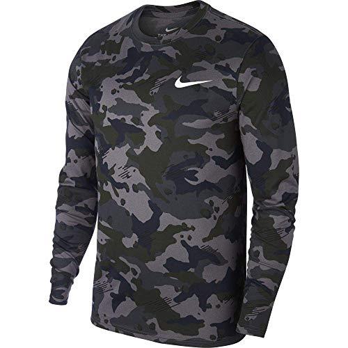 Nike M Nk Dry Leg Tee Ls Camo - dark grey/white, Größe:L