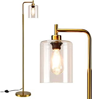 Depuley Lampadaire moderne doré à LED, lampe sur pied avec abat-jour en verre suspendu, lampe de sol industrielle en méta...