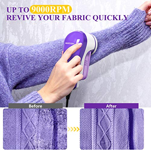 Amareisbe Fabric Shaver and Lint Remover, Electric Sweater Shaver Defuzzer with Replaceable Stainless Steel Blades, Portable Pilling Remover for Clothes, Couch, Blanket, AC Plug and Play