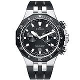 Edox Men's Delfin Stainless Steel Quartz Watch with Rubber Strap, Black, 24 (Model: 10109 357NCA NIN)