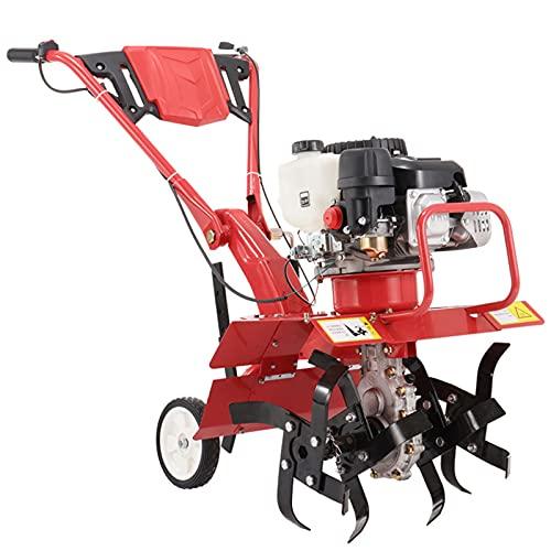 QILIN Escarificadores: Escarificador Gasolina, Microtiller Multifuncional, Motor de Gasolina con Engranaje Helicoidal, Altura Ajustable, Rojo