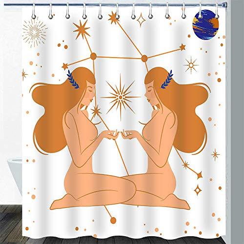 Gdmoon Mädchen Duschvorhang Planet Sonne Wahrsagung Duschvorhang Milchstraße Himmelskörper buntes Planet Design Stoff Badezimmer Vorhang-Set 183 x 183 cm YLWHGD1076