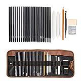 Dyna-Living Bleistift Set, Kohlestifte Zeichenset Zeichnen Lernen Kugelschreiber Set mit Skizzenbuch für Künstler
