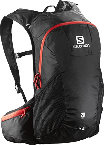 SALOMON Trail 20 Backpack, Unisex Adulto, Negro (Black/Bright Red), 20 L