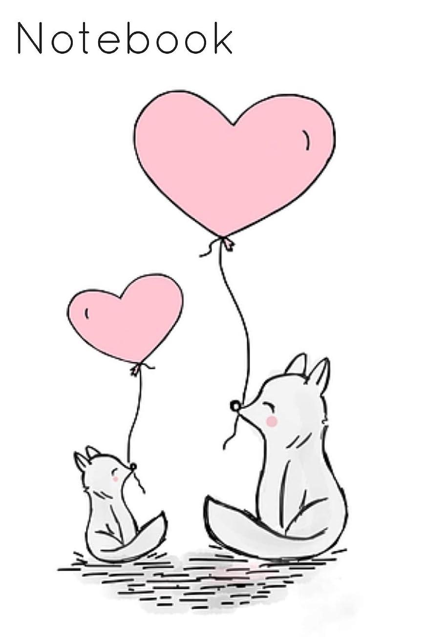 エレガント配るええNotebook: Baby Fox Balloon Heart Homework Book Notepad Notebook Composition and Journal Gratitude Diary Gift
