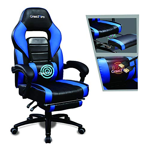 Gaming Chair with Footrest Racing Recliner Big and Tall Computer Game Chair with Massage Office Chair Ergonomic Desk Chair PU Leather Headrest Lumbar Support (Blue)