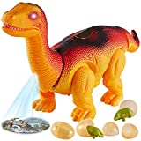 TOEY PLAY Dinosaurios Electronicos, Caminar Braquiosaurio Juguete con Dinosaurio Huevos, Proyección, Sonido y Luz, Regalos para Niño de 3 años