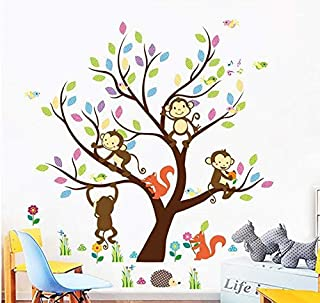 Animal monkey Wall Sticker Home Decor Removable tree art Decals Kids Room decoration
