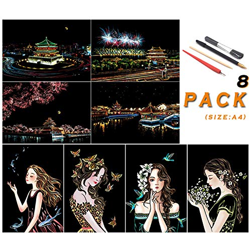 SiYear Rainbow Scratch Painting Paper, City Series Night Scene, Scratch Painting Creative Gift, Scratchboard for Adult and Kids, with 4 Tools, Size: 11.7''x8.3 '' (8pack)