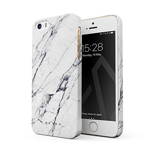 BURGA Hülle Kompatibel mit iPhone 5 / 5s / SE - Handy Huelle Licht Weiß Marmor Muster White Marble Mädchen Dünn Robuste Rückschale aus Kunststoff Handyhülle Schutz Case Cover