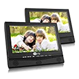 12.5'' Dual Car DVD Player with 10.1'' Screen Headrest Mount Bracket and Rechargeable Battery Support 5 Hours Sync Screen Last Memory USB SD