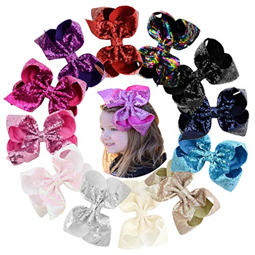 """8"""" Large Sequins Hair Bows 12PCS Glitter Sparkly Boutique Alligator Clips for Girls Toddlers Teens Women"""