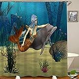 HUAYEXI Rideau de Douche,Mermaid Fairy Marine Cute Mermaid Girl and Dolphin Fish Swimming Underwater in Blue Ocean,Rideau de Douche Imperméable avec 12 pcs Crochets,Lavable en Machine,Polyester