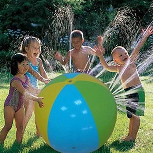 Aufblasbarer Panel Beach Ball, Kinder Beach Ball Sprinkler Sommer Regenbogen Aufblasbarer Wassersprühballon Ball Splash Play Toys Outdoor-Aktivitäten Lawn Yard