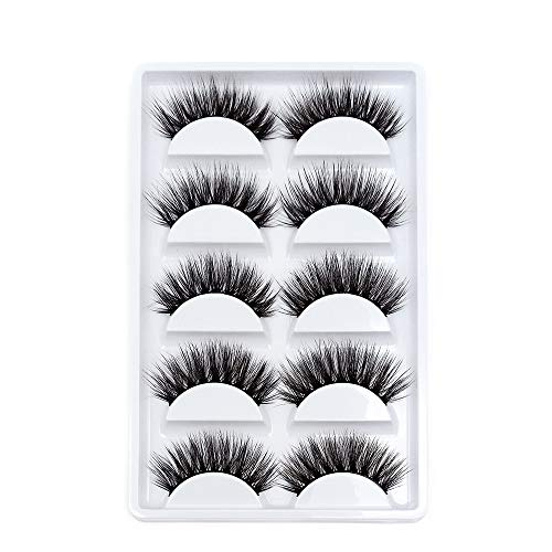 False Eyelashes, 5 Pairs Faux Mink False Lashes Long Thick Eyelashes for...
